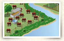 Illustration of cattle farm on river